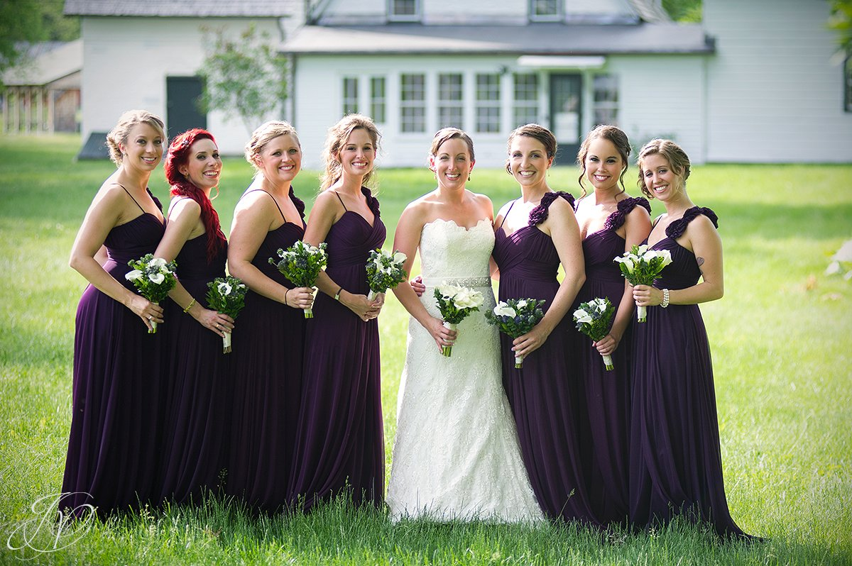 bridal party photo, brides maids with bride photo, mabee farms historic site, wedding at mabee Farms, Schenectady Wedding Photographer, Key Hall Proctors reception