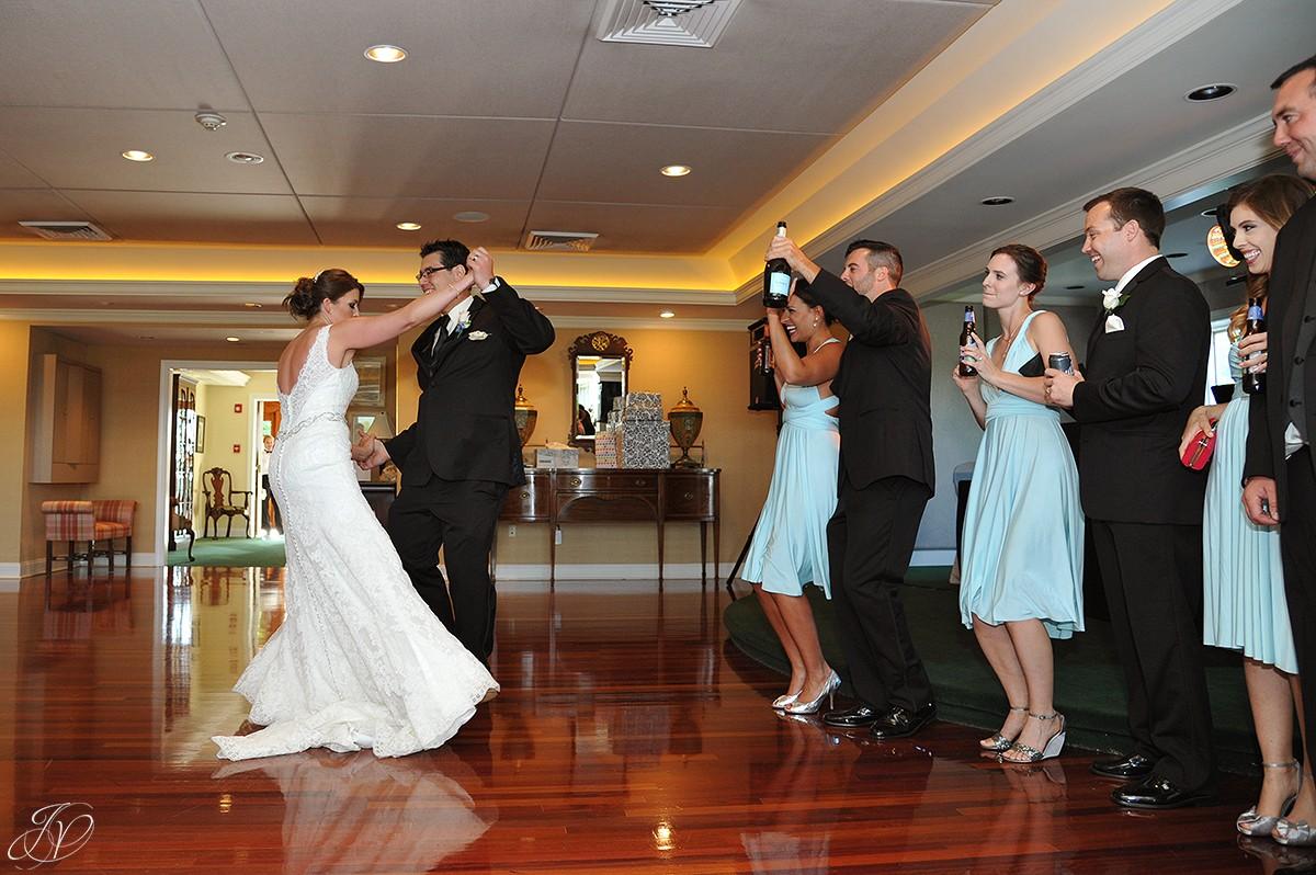 bride and groom intro at wedding reception
