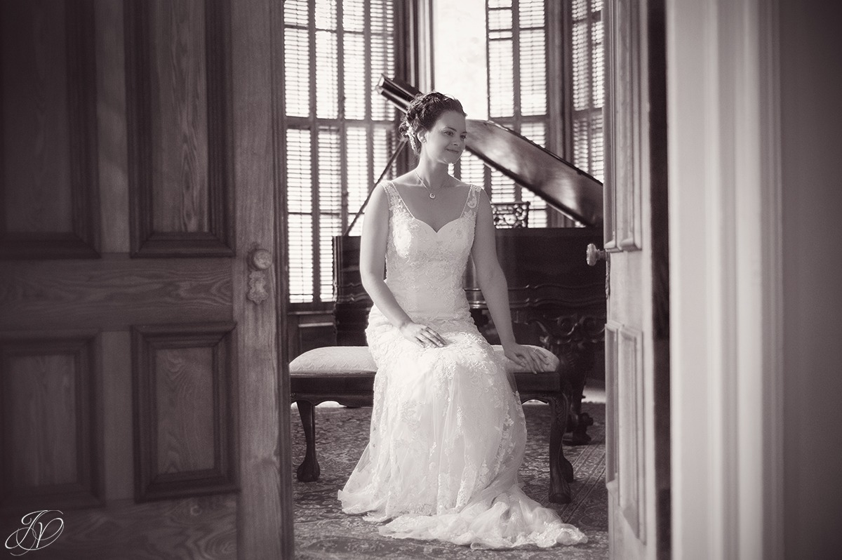 unique bridal portrait in black and white