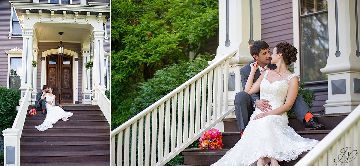 romantic photo of bride and groom on stairs