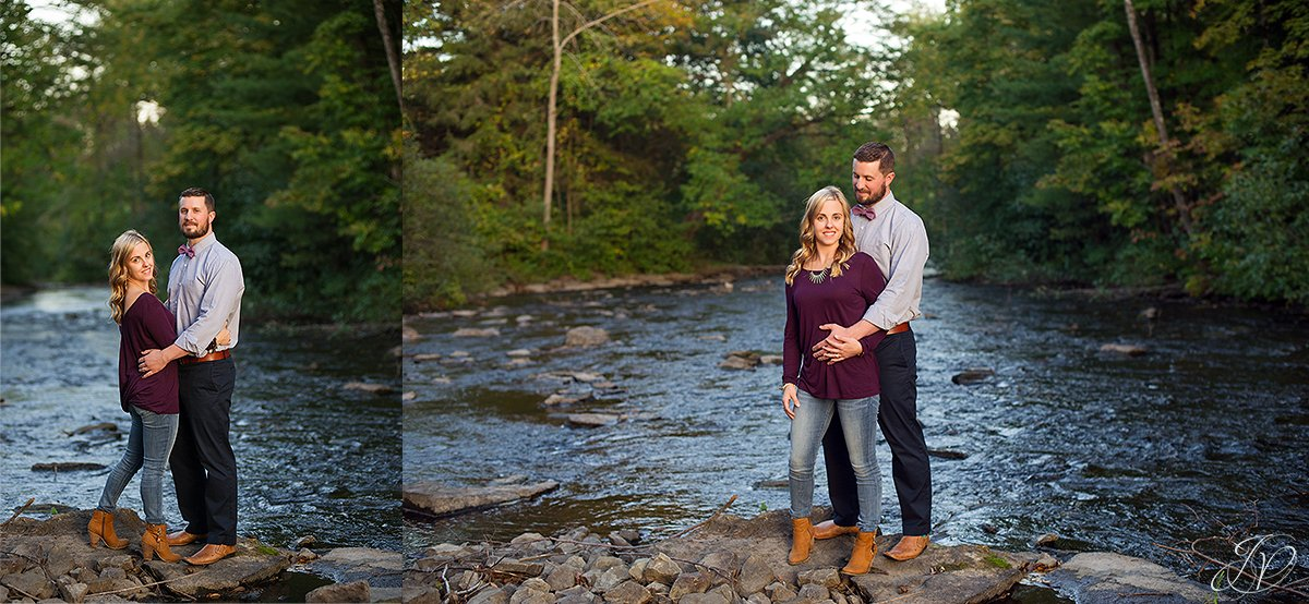 romantic couple portrait fall water saratoga springs
