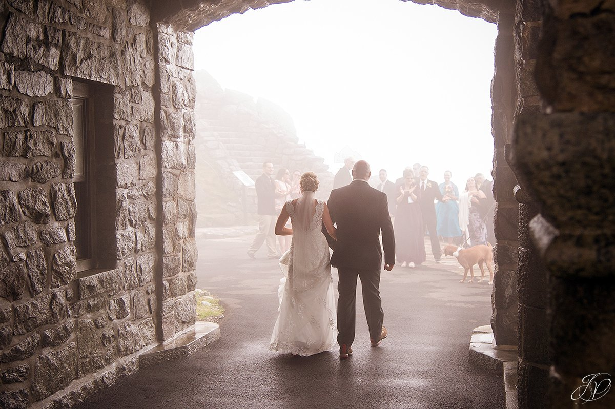 ceremony at top of whiteface mountain fog during ceremony