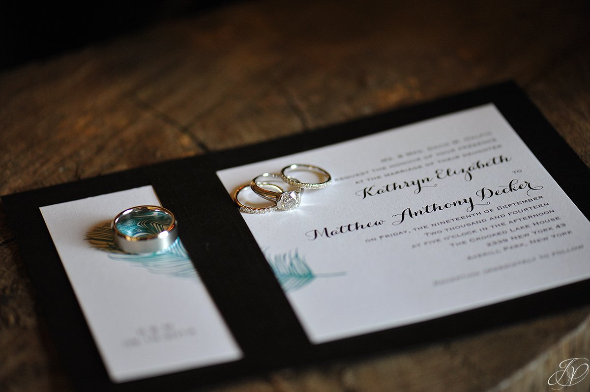 unique wedding bands on wedding invitation