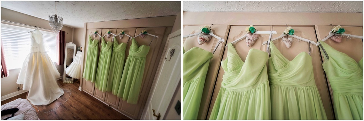 wide angle shot of bridesmaids dresses