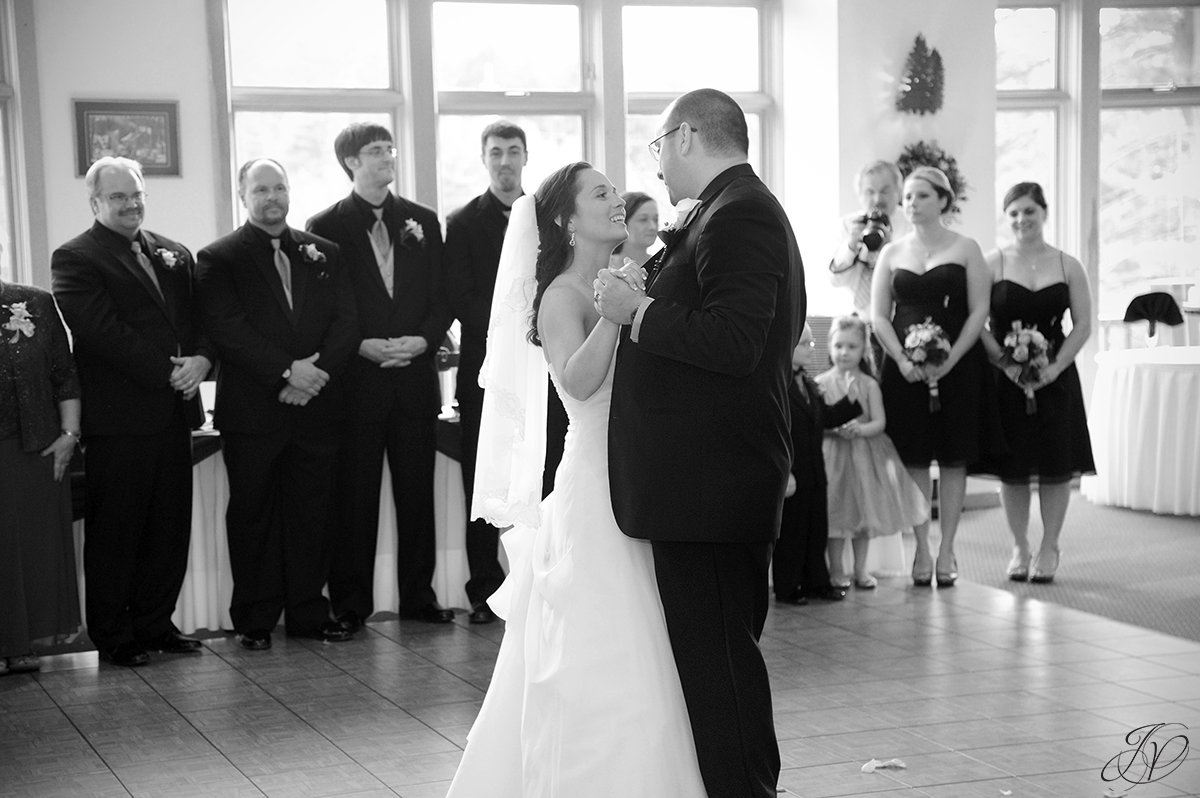 black and white photo of bride and groom's first dance