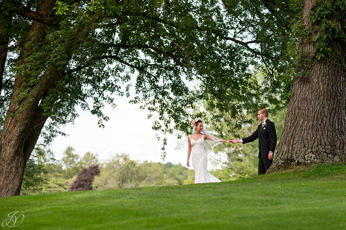 bride and groom in nature normanside country club