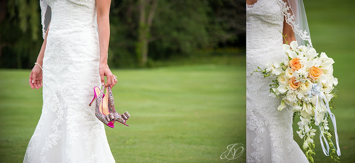 bride wedding day details flowers sparkly shoes