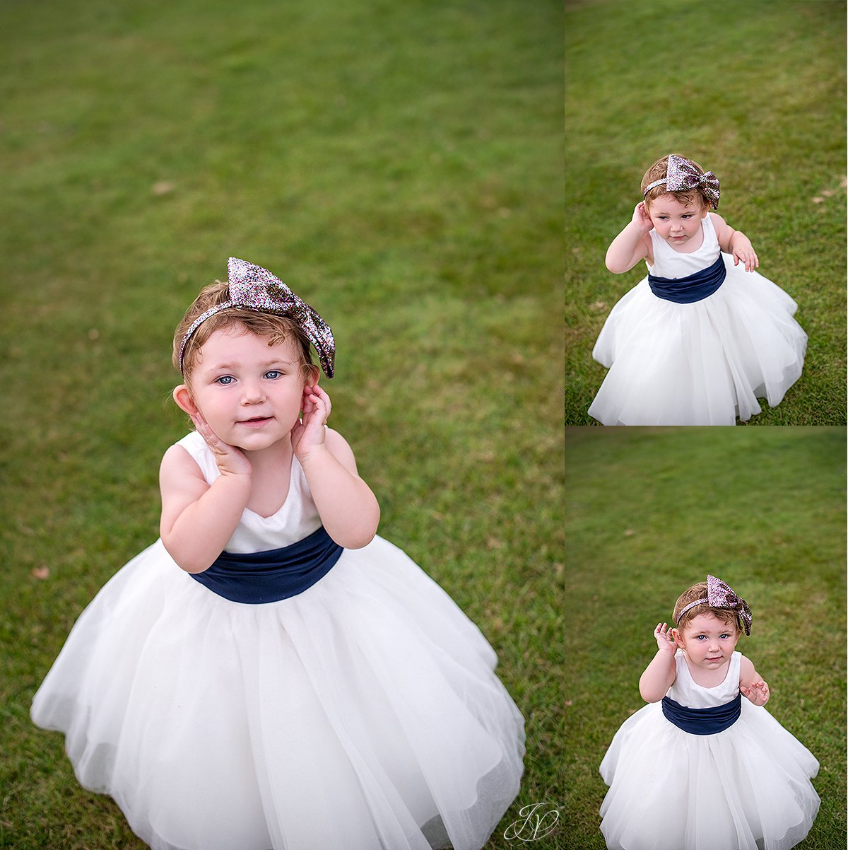 adorable flower girl with sparkly headpiece