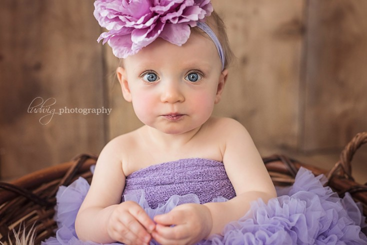 1 year portrait of sweet girl E . RI baby photography.
