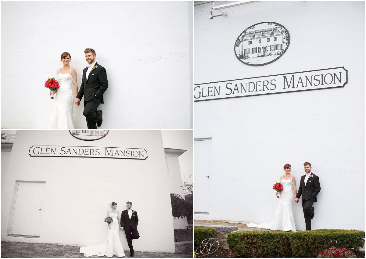 bride and groom exterior of glen sanders mansion wedding