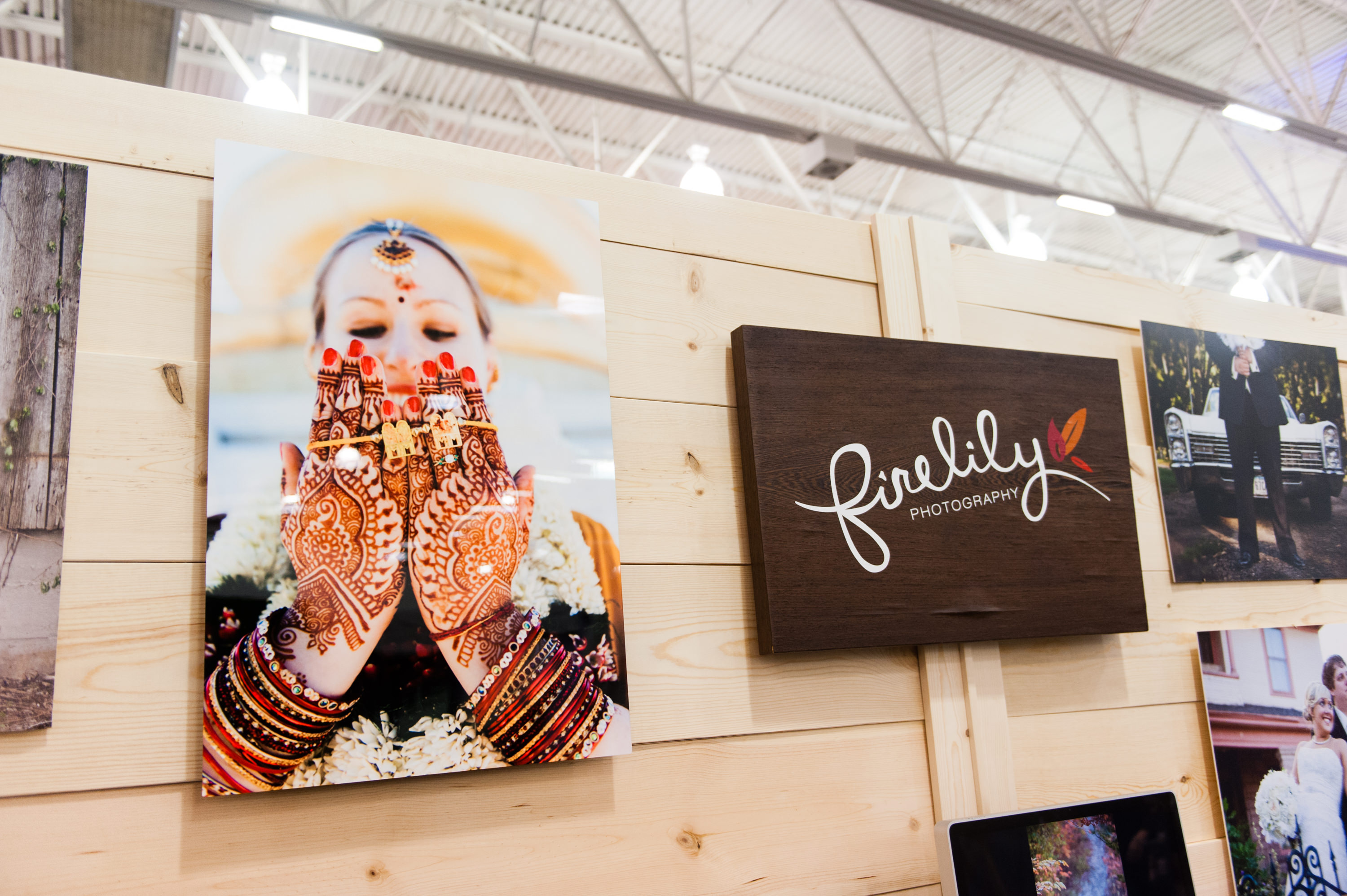 Firelily Photography Madison, WI 2017 Winter Bridal Show Booth | Stunning metal print from Hindu wedding photography in Chicago, IL