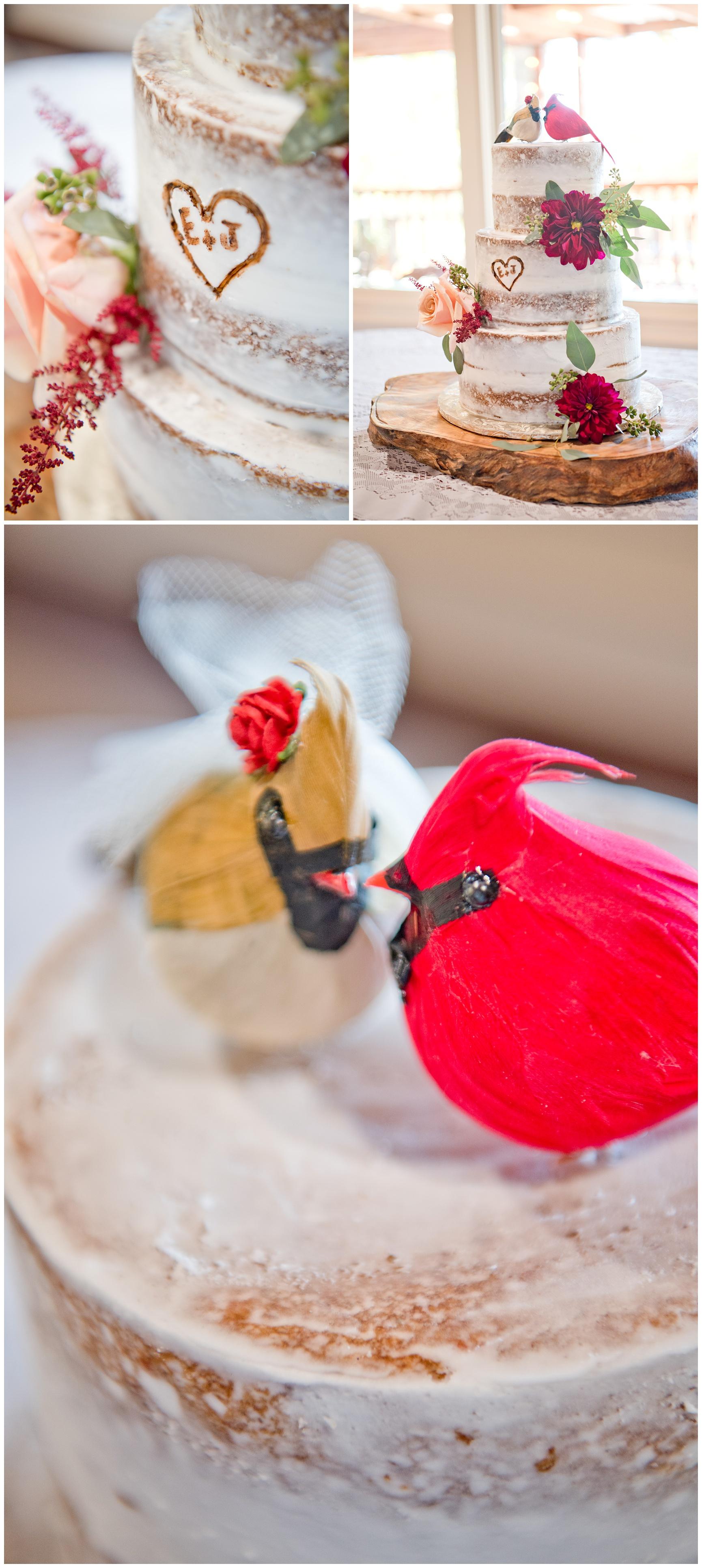 Rustic Cardinal Wedding Cake