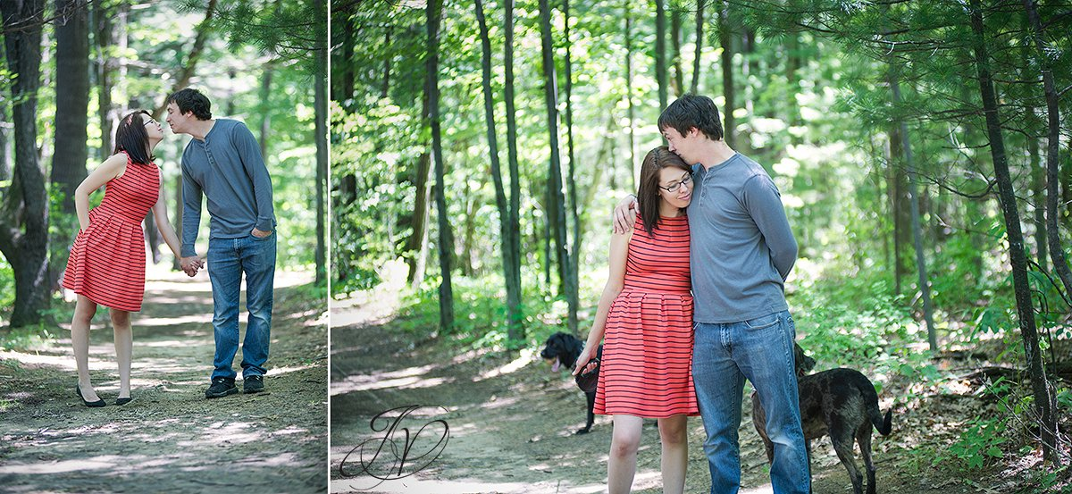 couple kissing in the woods photo, natural engagement photo, outdoors engagement session, alabnay engagement photographer, saratoga engagement