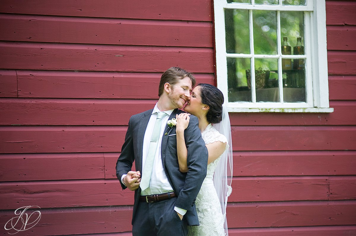 beautiful bride and groom candid, bride and groom in front of barn, first look at pruyn house, bride and groom portrait, pruyn house wedding, Wedding at The Pruyn House, Albany Wedding Photographer