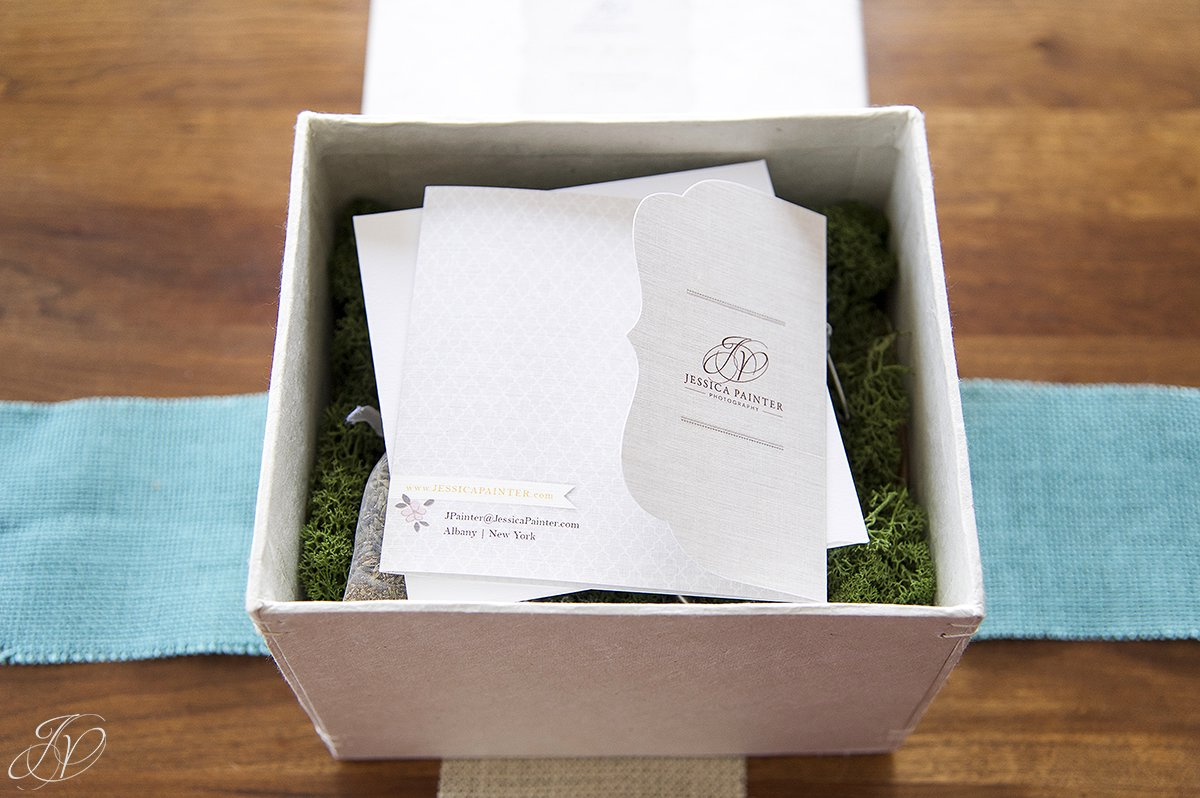 loktah box with thank you card, reindeer moss inside of loktah box, custom wedding packaging, personalized wedding photography packaging, unique wedding photography packaging