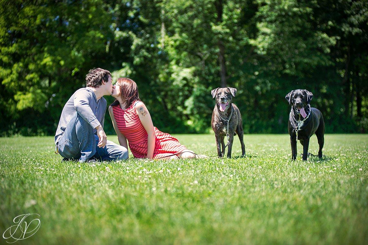 Engagement photo and pet, Saratoga Engagement Photographer, Albany Engagement