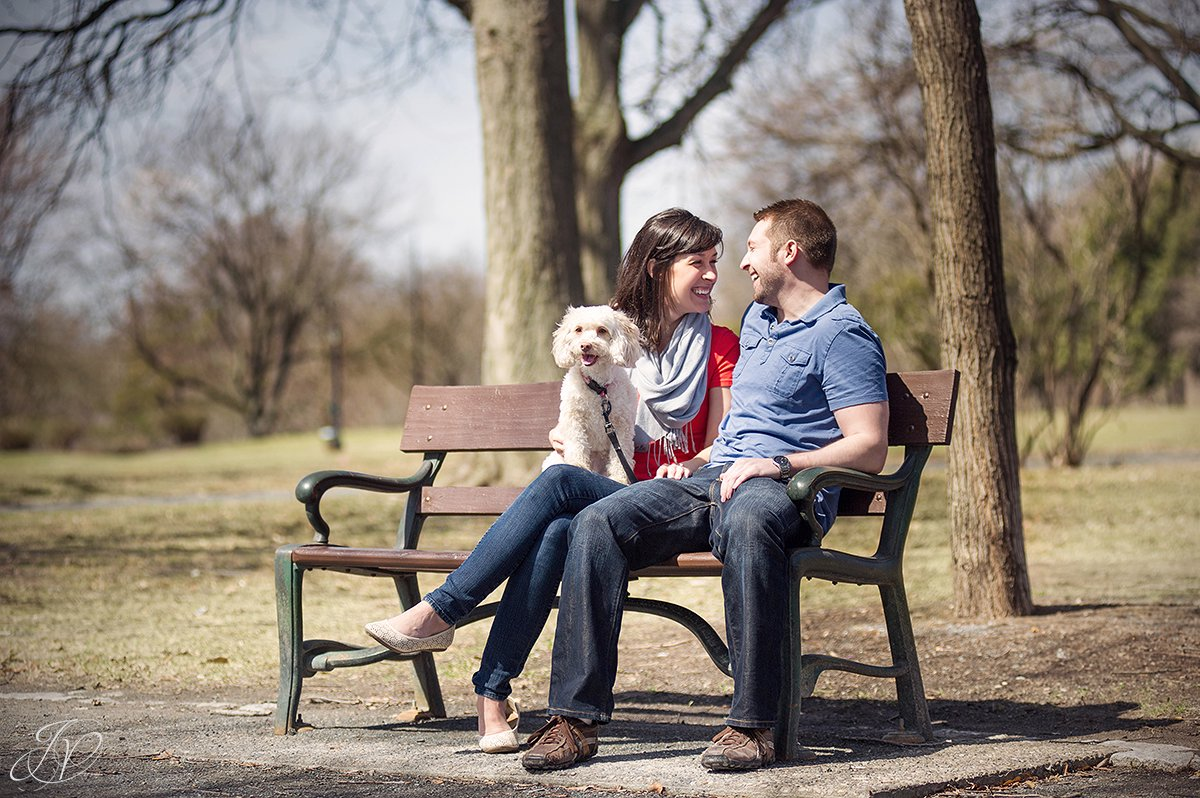 young couple on bench in washington park, engagement photos at washington park albany, albany engagement photography, downtown engagement session, albany portrait photography, engagement session in washington park