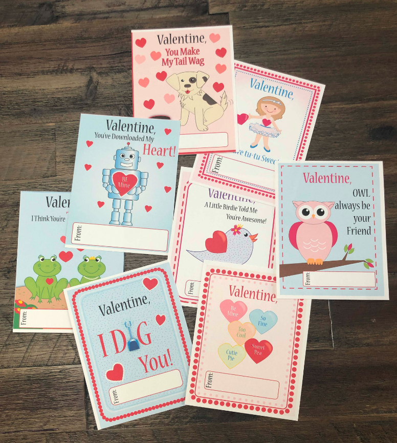 Click here to get free printable Valentines