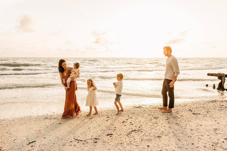 family beach portraits, family of 5 coastal pictures, Ryaphotos, Naples, Florida
